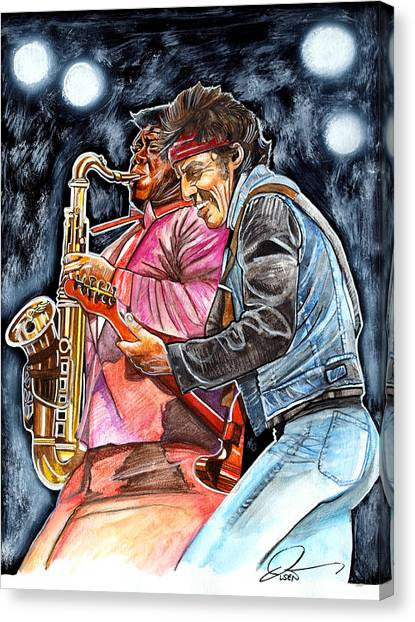 Bruce Springsteen Canvas Print - Bruce Springsteen And Clarence Clemons by Dave Olsen