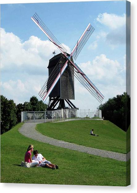 Bruges Windmill Canvas Print by David L Griffin