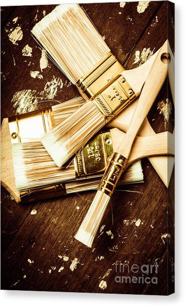 Repairs Canvas Print - Brushes Of Interior Decoration by Jorgo Photography - Wall Art Gallery