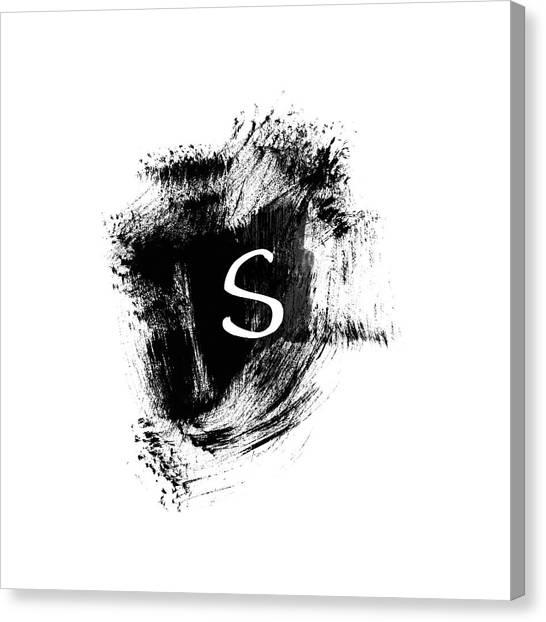 Design Canvas Print - Brushstroke S -monogram Art By Linda Woods by Linda Woods