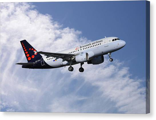 Airlines Canvas Print - Brussels Airlines Airbus A319-111 by Smart Aviation