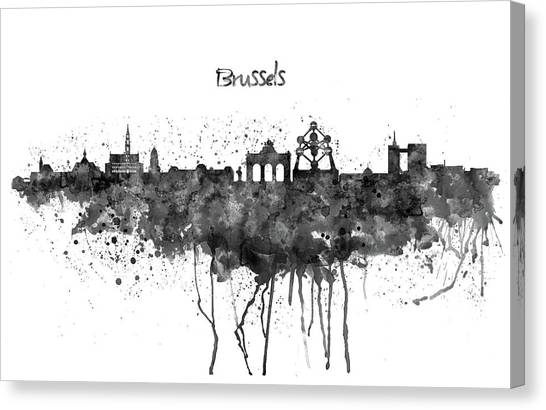 European City Canvas Print - Brussels Black And White Skyline Silhouette by Marian Voicu