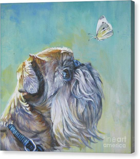 Griffons Canvas Print - Brussels Griffon With Butterfly by Lee Ann Shepard