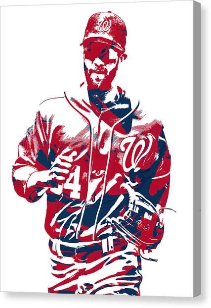 Washington Nationals Canvas Print - Bryce Harper Washington Nationals Pixel Art 12 by Joe Hamilton