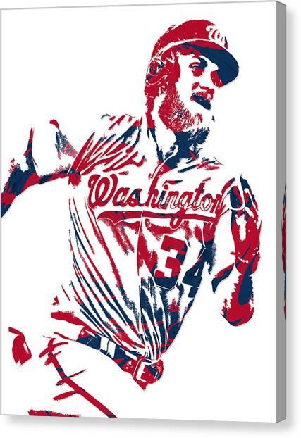 Washington Nationals Canvas Print - Bryce Harper Washington Nationals Pixel Art 13 by Joe Hamilton