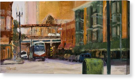 Bryn Mawr Edgewater El Stop Canvas Print by Nancy Albrecht