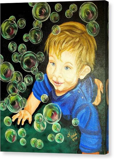 Bubble Baby Canvas Print by Kathern Welsh
