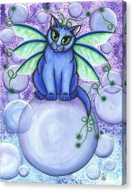 Bubble Fairy Cat Canvas Print