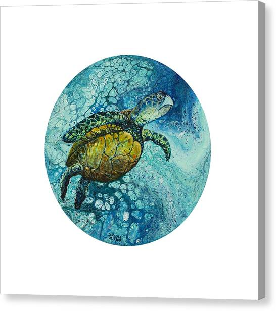Canvas Print featuring the painting Bubble Surfer  by Darice Machel McGuire