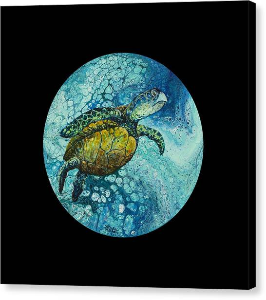 Canvas Print featuring the painting Bubble Surfer On Black by Darice Machel McGuire