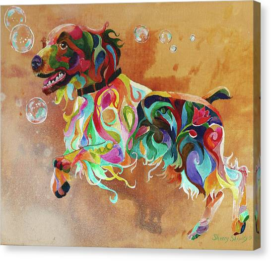 Bubbles  English Springer Canvas Print