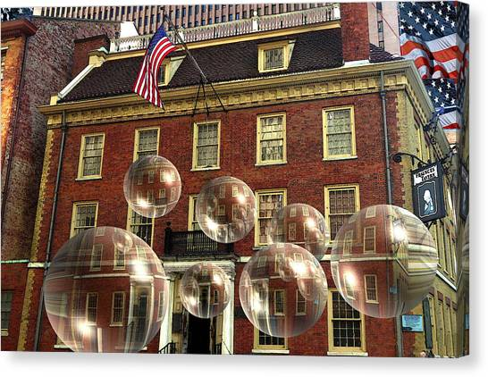 Bubbles Of New York History - Photo Collage Canvas Print