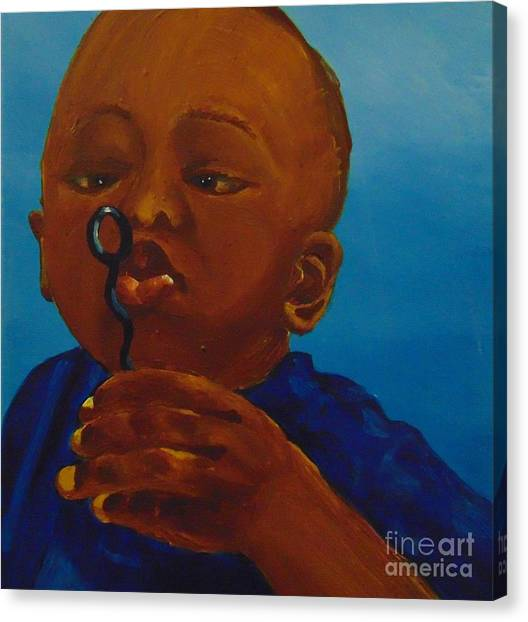 Canvas Print featuring the painting Bubbles by Saundra Johnson