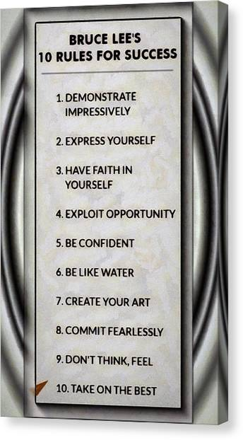 Buce Lee 10 Rules Of Success Canvas Print