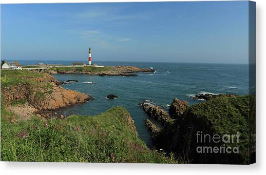 Buchan Ness Lighthouse And The North Sea Canvas Print