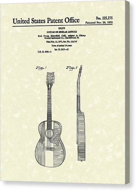 Buck Owens Guitar 1972 Patent Art  Canvas Print
