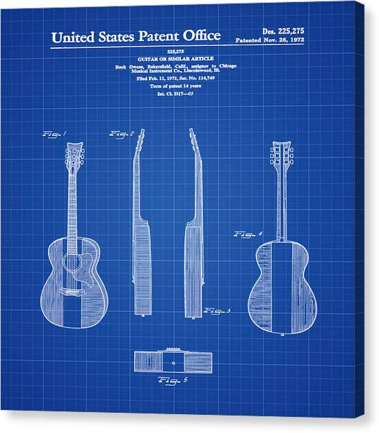 Country Canvas Print - Buck Owens Guitar Patent 1972 Blue Print by Bill Cannon