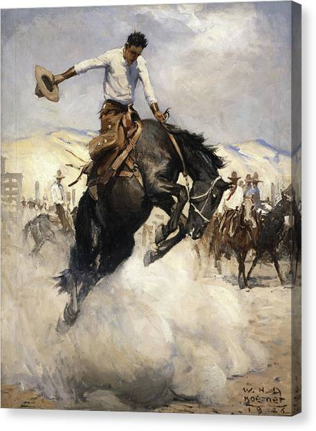 George Bush Canvas Print - Bucking by William Henry Dethlef Koerner