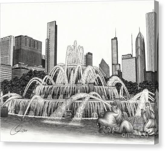 Buckingham Fountain Drawing Canvas Print