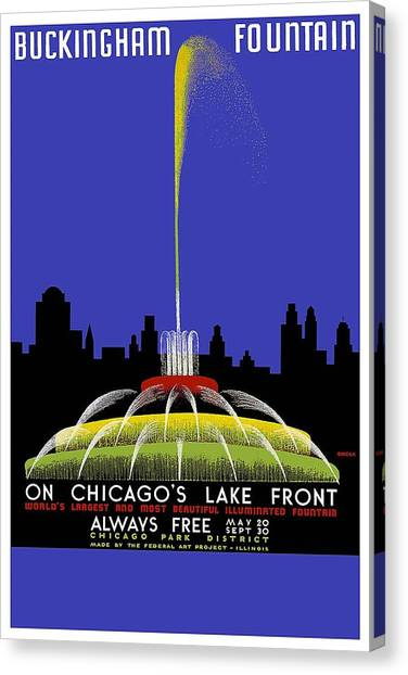 Buckingham Fountain Vintage Travel Poster Canvas Print