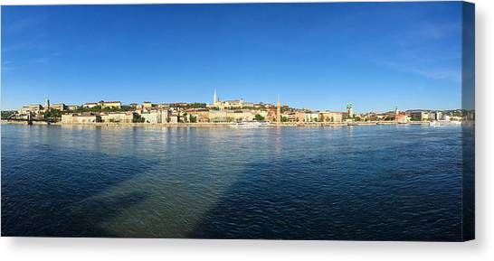 Rivers Canvas Print - Budapest And Danube Panorama by Matthias Hauser