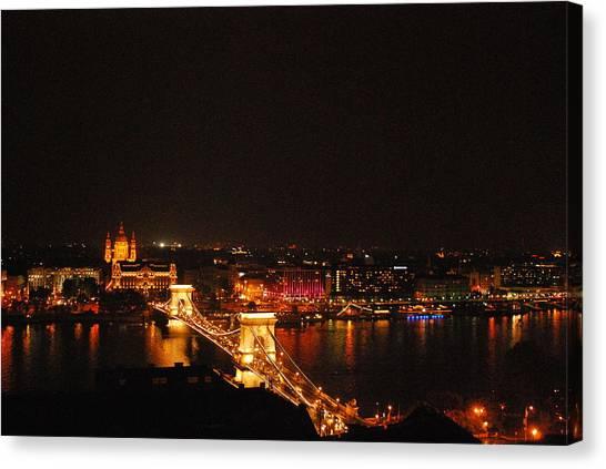 Budapest At Night Hungary Canvas Print by Eva Ramanuskas