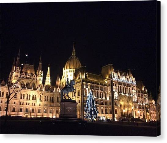 Parliament Canvas Print - Budapest By Night by Chantal Mantovani