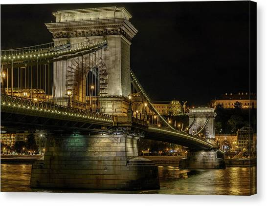 Canvas Print featuring the photograph Budapest Chain Bridge by Steven Sparks