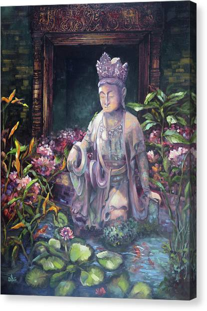 Budda Statue And Pond Canvas Print