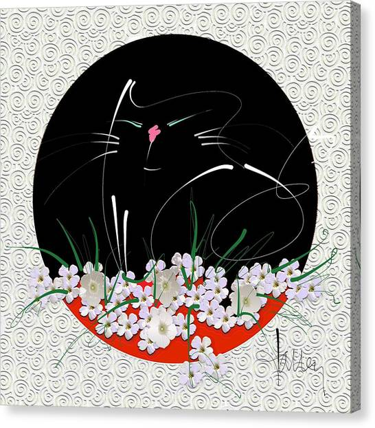 Canvas Print featuring the mixed media Buddha Cat by Larry Talley