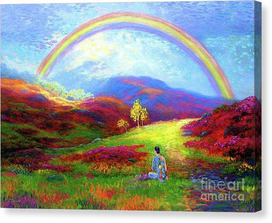 Rainbows Canvas Print - Buddha Chakra Rainbow Meditation by Jane Small