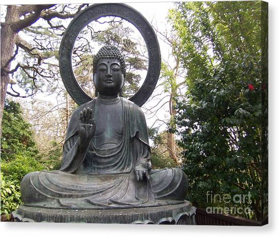 Buddha In The Woods Canvas Print by Sharon Donahue