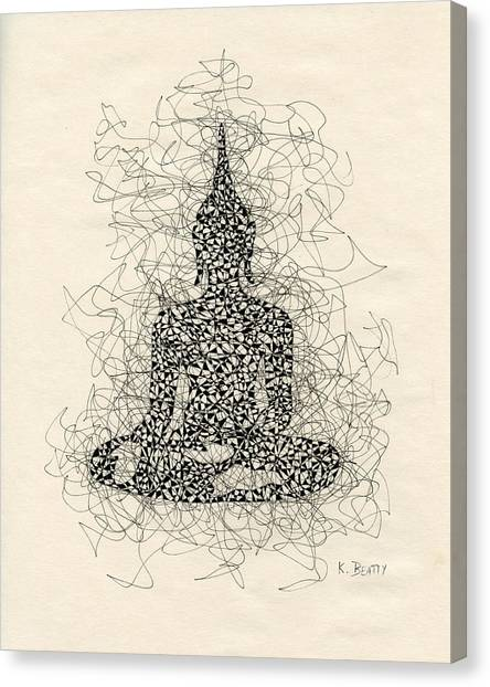 Buddha Pen And Ink Drawing Canvas Print