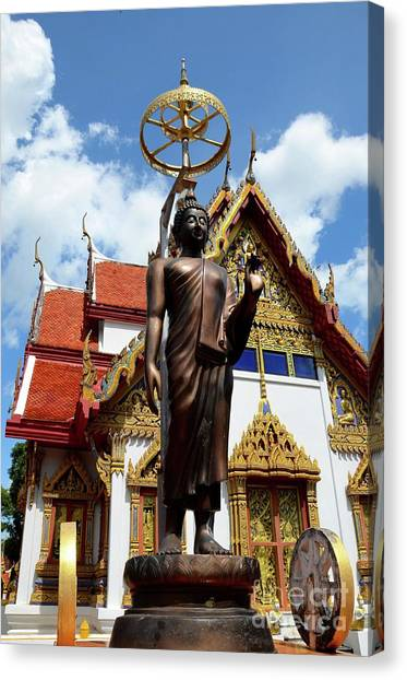 Buddha Statue With Sunshade Outside Temple Hat Yai Thailand Canvas Print