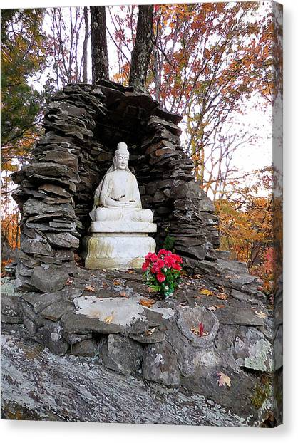 Dilapidation Canvas Print - Buddha Statues 1 by Jeelan Clark
