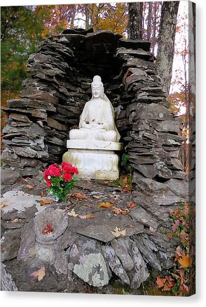 Dilapidation Canvas Print - Buddha Statues 2 by Jeelan Clark