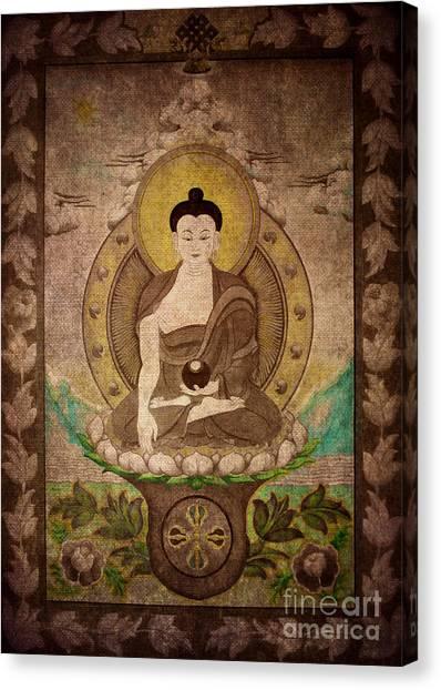 Buddha Thangka Silver Canvas Print