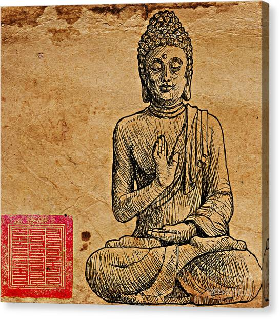 Canvas Print featuring the drawing Buddha The Minimalist by Lita Kelley