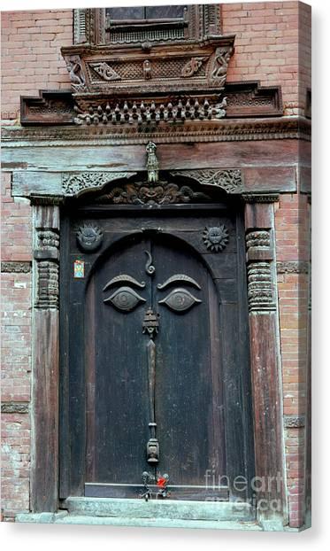 Buddha's Eyes On Nepalese Wooden Door Canvas Print