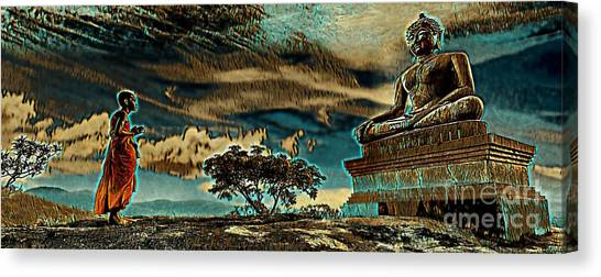 Canvas Print featuring the mixed media Buddhist Monk Praying To Buddha by Lita Kelley