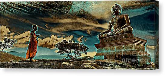 Buddhist Monk Praying To Buddha Canvas Print