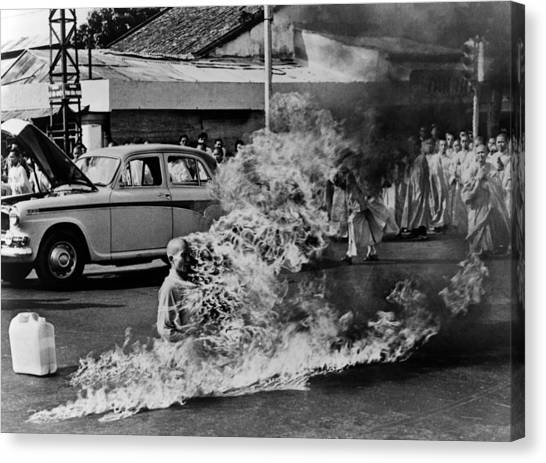 Buddhist Canvas Print - Buddhist Monk Thich Quang Duc, Protest by Everett