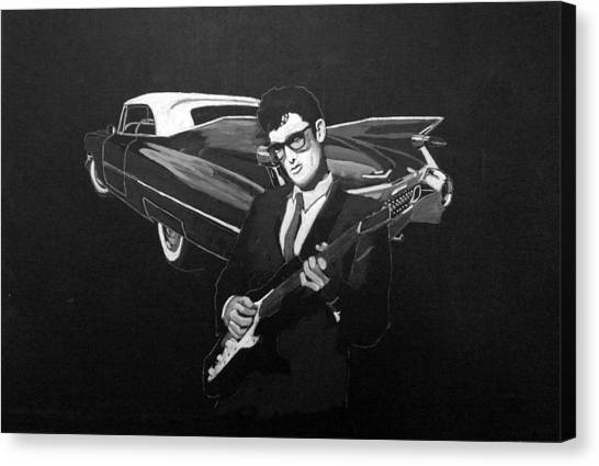 Buddy Holly And 1959 Cadillac Canvas Print