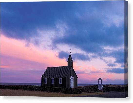 Canvas Print featuring the photograph Budir Black Church by Pradeep Raja Prints
