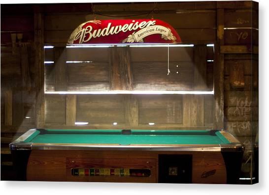 Budweiser Light Pool Table Canvas Print