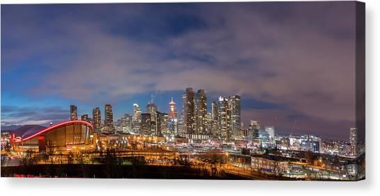 Calgary Flames Canvas Print - Blue Night by Cory Huchkowski