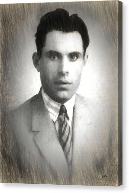 Libertarian Canvas Print - Buenaventura Durruti  by Joaquin Abella
