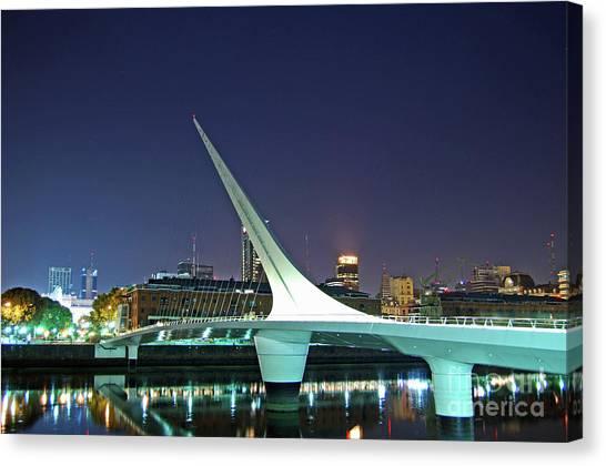 Buenos Aires - Argentina - Puente De La Mujer At Night Canvas Print