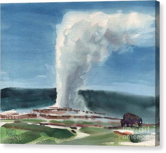 Yellowstone Canvas Print - Buffalo And Geyser by Donald Maier