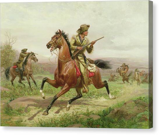 Buffalo Bills Canvas Print - Buffalo Bill Fighting The Indians by Louis Maurer